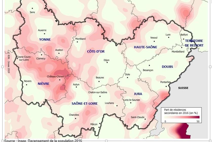 Carte lissée de la part des résidences secondaires en Bourgogne-Franche-Comté (insee)