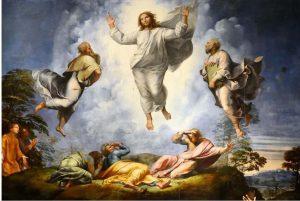 La transfiguration de Jésus, par Raphaël, 1518-1520. Pinacothèque du Vatican. Wikipedia