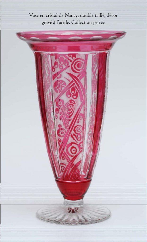 vase en cristal, décor gravé à l'acide (collection privée)