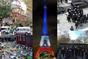 Attentats du 13 novembre à Paris (Albergrin007 for moutingAt the top left : Maya-Anaïs Yataghène from Paris, France]At the bottom left : Jean-François GornetIn the center : Florent AUDEBERTAt the top right : Chris93At the bottom right : Eric Salard, CC BY-SA 4.0 , via Wikimedia Commons)