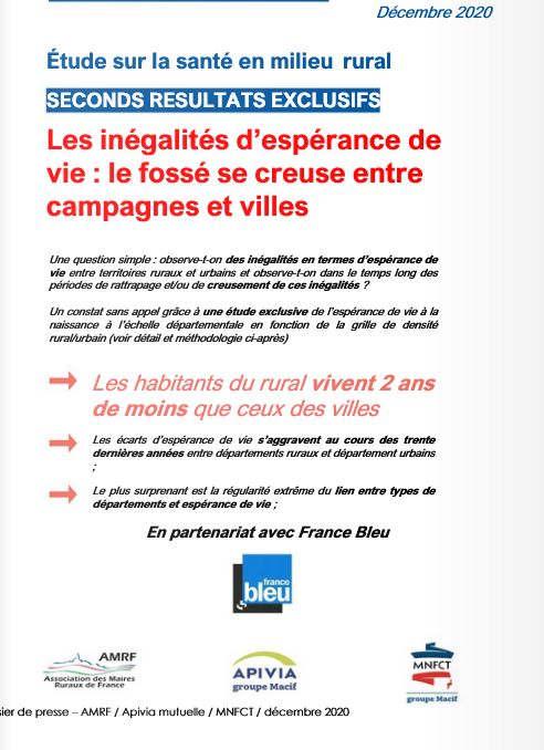 Espérance de vie : inégalité ville et campagne