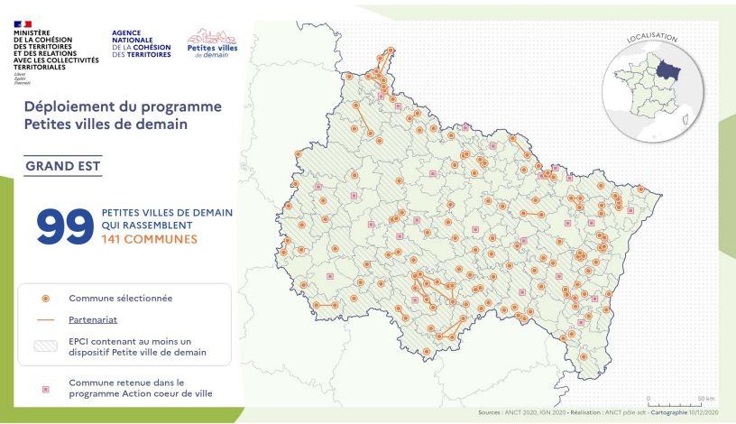 """Carte des """"petites villes de demain"""""""