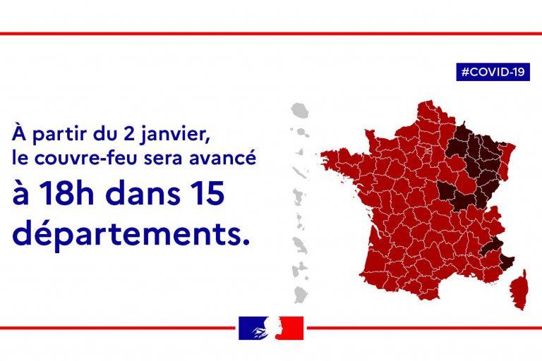 couvre-feu à 18 h dans 15 départements (ministère intérieur)