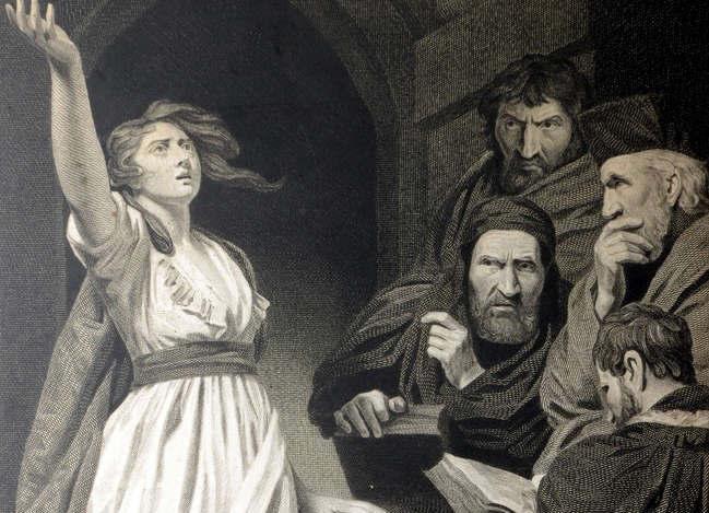 Estampe anglaise (eau forte) de Jeanne proclamant sa mission devant les docteurs de la foi à Poitiers peint par J. OPIE et gravé par T. HOLLOWAY (1796) au musée Jeanne d'Arc (imagerie Johannique).