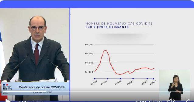 Le Premier ministre Jean Castex lors de la conférence de presse (capture twitter)