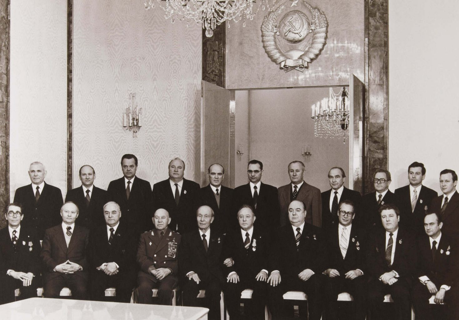 Photographie unique de la visite des chefs de la STASI de RDA (Général Erich MIELKE, Général Markus WOLF, etc.) à Moscou (URSS) durant l'hiver 1980