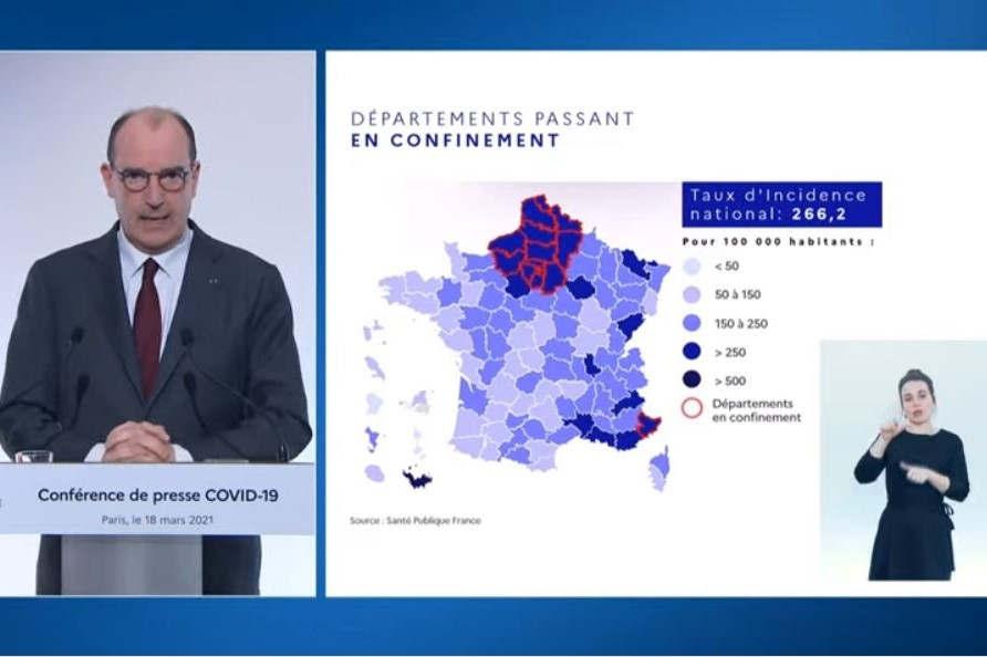 Conférence de Jean Castex le 18 mars 2021 (capture site Gouvernement)