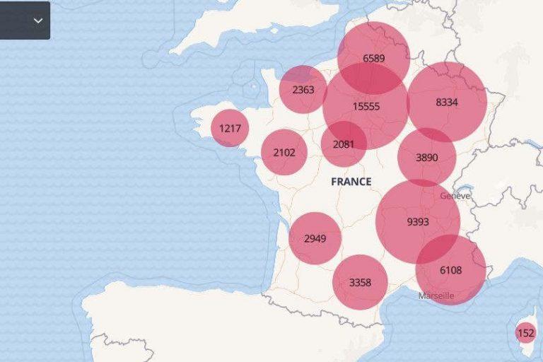 Carte des décès à l'hôpital au 11 mars 21 (gouv.fr)