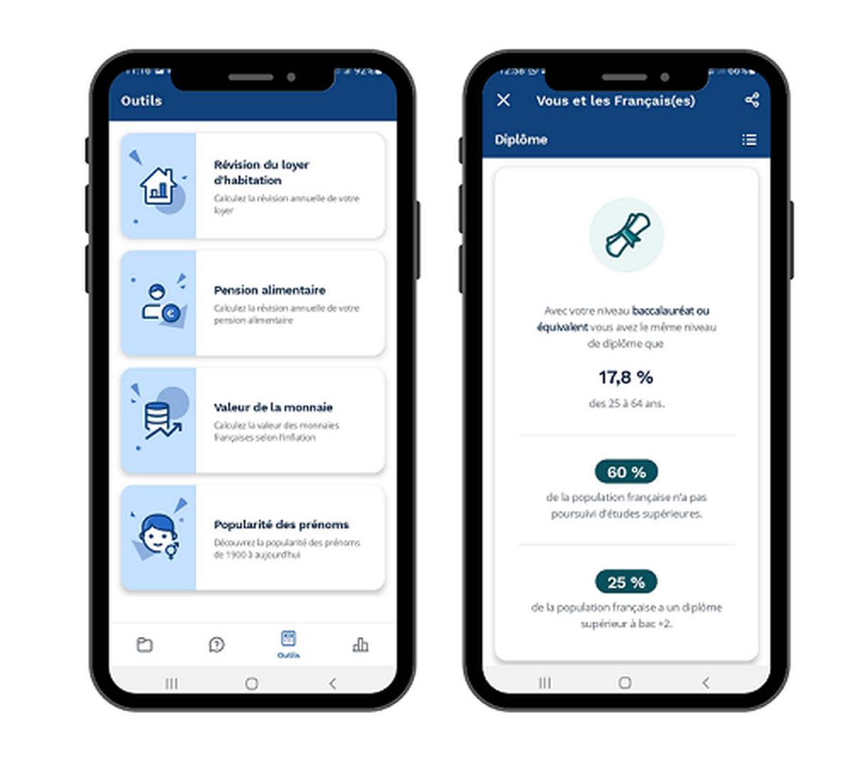 Rendez-vous sur l'application Insee Mobile, à télécharger sur smartphone.