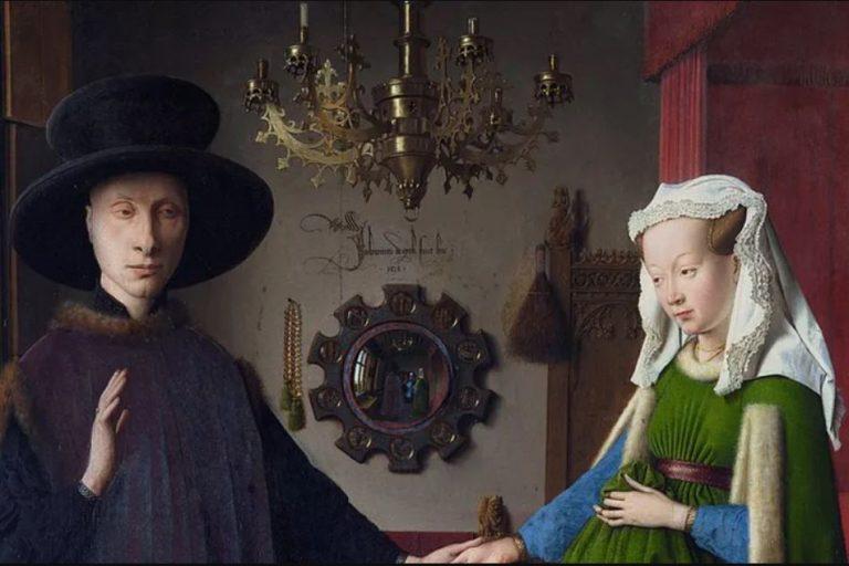 an van Eyck, Les Époux Arnolfini, 1434, huile sur panneau de chêne, 82,2 × 60 cm, National Gallery, Londres. Wikipédia