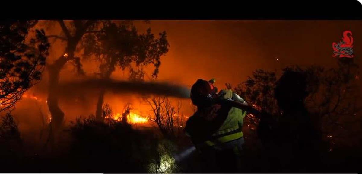 Les pompiers du Var au coeur du brasier (capture twitter, SDIS-83)
