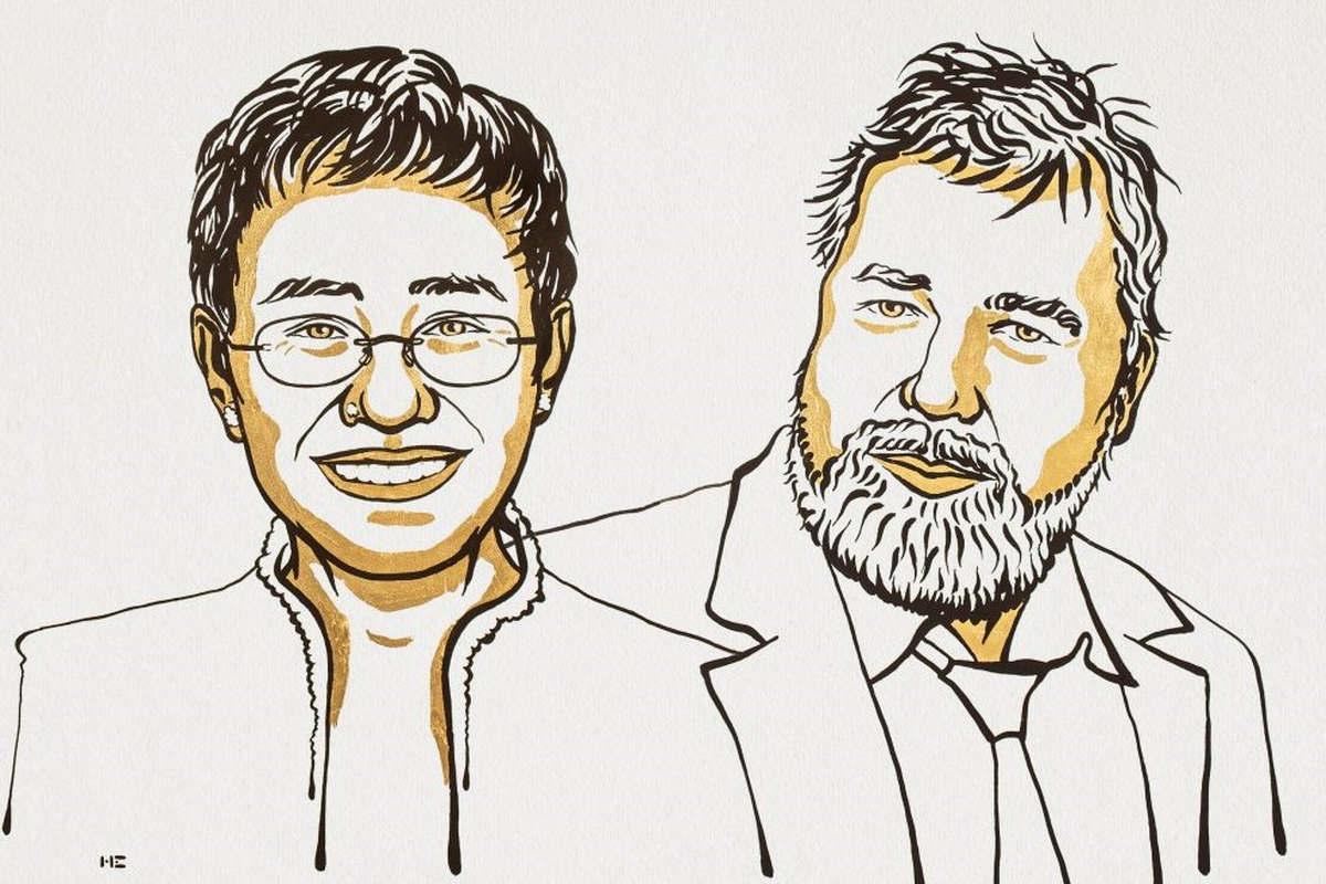 Maria Ressa et Dmitry Muratov (Niklas Elmehed © Nobel Prize Outreach. )